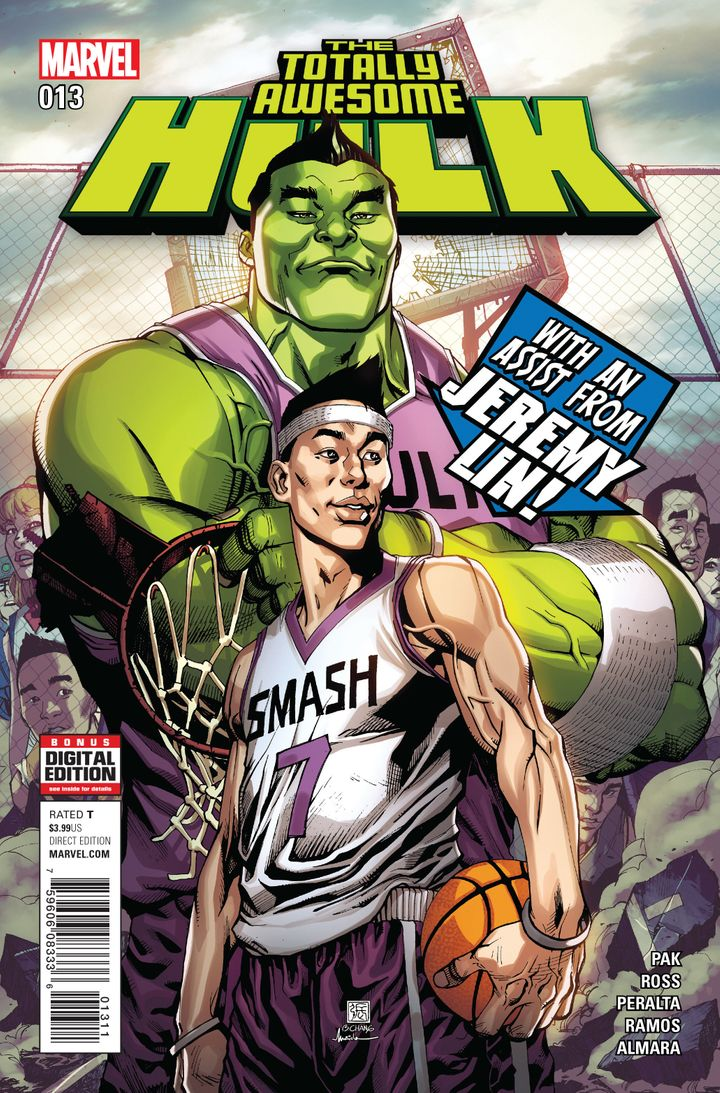 "Jeremy Lin on the cover of ""The Totally Awesome Hulk."""