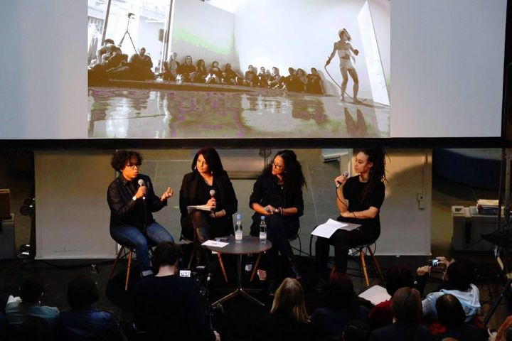 """<p>March 10th, 2016 - """"What We Lost in Empire"""" at Copenhagen Main Library where Lesley Anne Brown (second from right) was part of a panel on decolonism that included Danish Trinidadian visual artist Jeannette Ehlers, actor Anna Neye, and artist, academic Simmi Dullay</p>"""