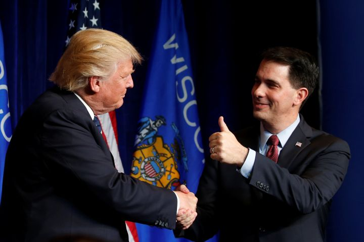 President-elect Donald Trump and Wisconsin Gov. Scott Walker: united in keeping out refugees.