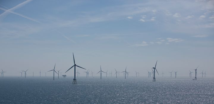 Wind turbines are pictured in RWE Offshore-Windpark Nordsee Ost in the North Sea, off the coast of Helgoland, Germany.