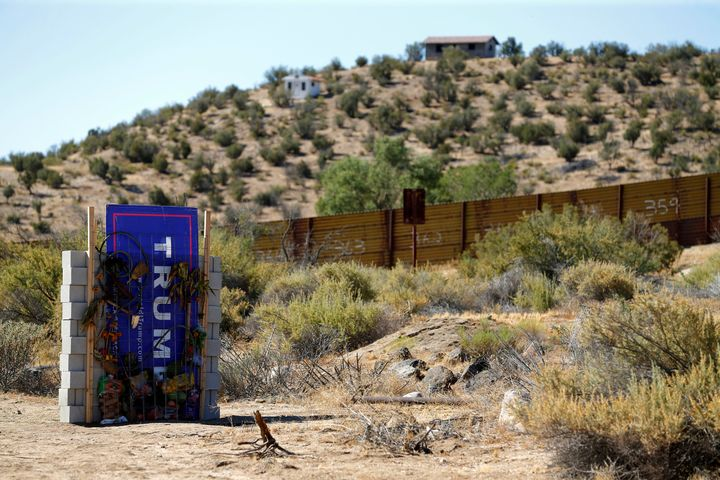 Artists David Gleeson and Mary Mihelic created a version of Trump's wall next to the actual border in Jacumba Hot Spring