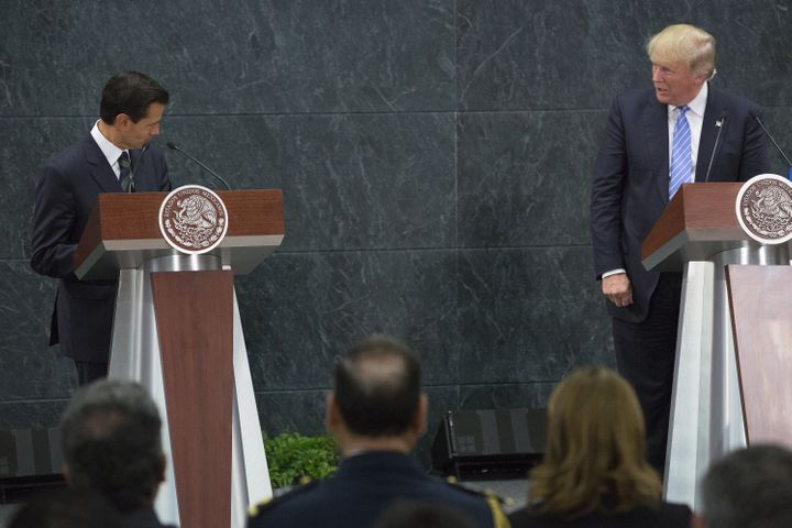 Mexican President Enrique Peña Nieto and Donald Trump spokeduring a joint appearancein Mexico City on Aug.
