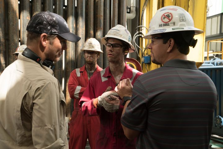 Director Peter Berg and actors Dylan O'Brien and Mark Wahlberg on the set of <em>Deepwater Horizon</em>