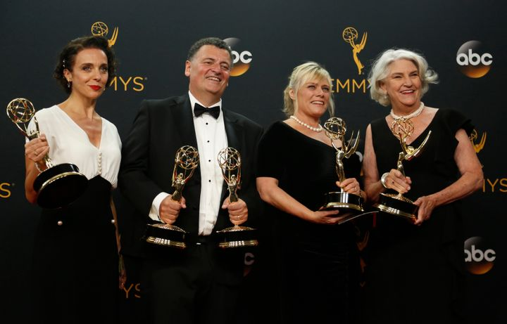 Amanda Abbington, producers Steven Moffat, Sue Verue and Beryl Vertue pose with their award for Outstanding Television Movie