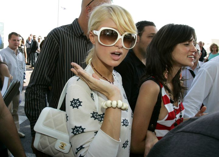 Paris Hilton leaves the Chopard Lounge along La Croisette during the 59th Cannes Film Festival May 22, 2006