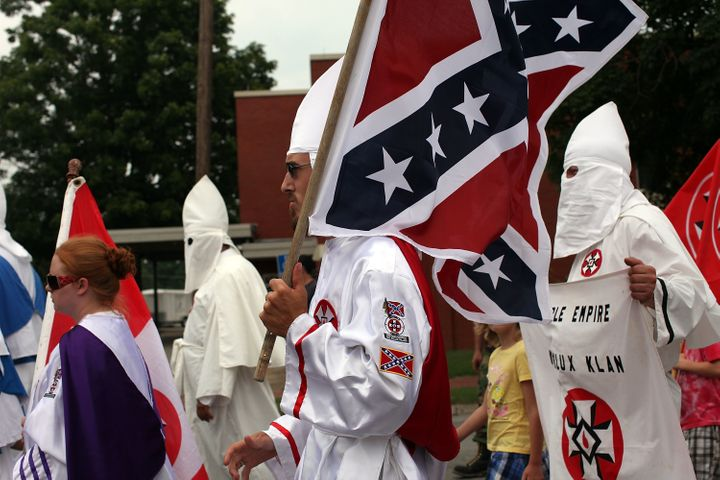 Members of the Fraternal White Knights of the Ku Klux Klan are seen marching in Pulaski, Tennessee, in 2009. Lyons admits to