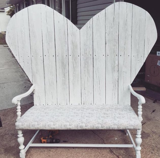 Kate's husband made her this bench with wood from his childhood