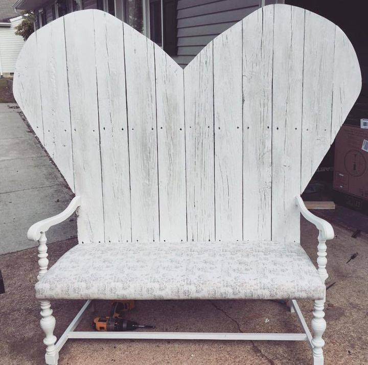 Kate's husband made her this bench with wood from his childhood playhouse.