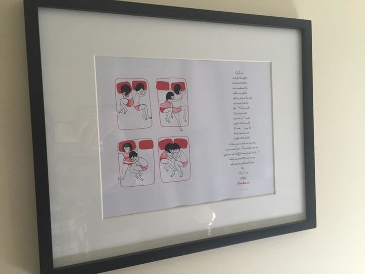 For her birthday, Brianne's fiancé framed a poem and romantic illustration for her.