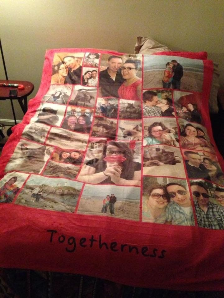 Ashleigh's husband made her a blanket with photos of them and their precious pets.