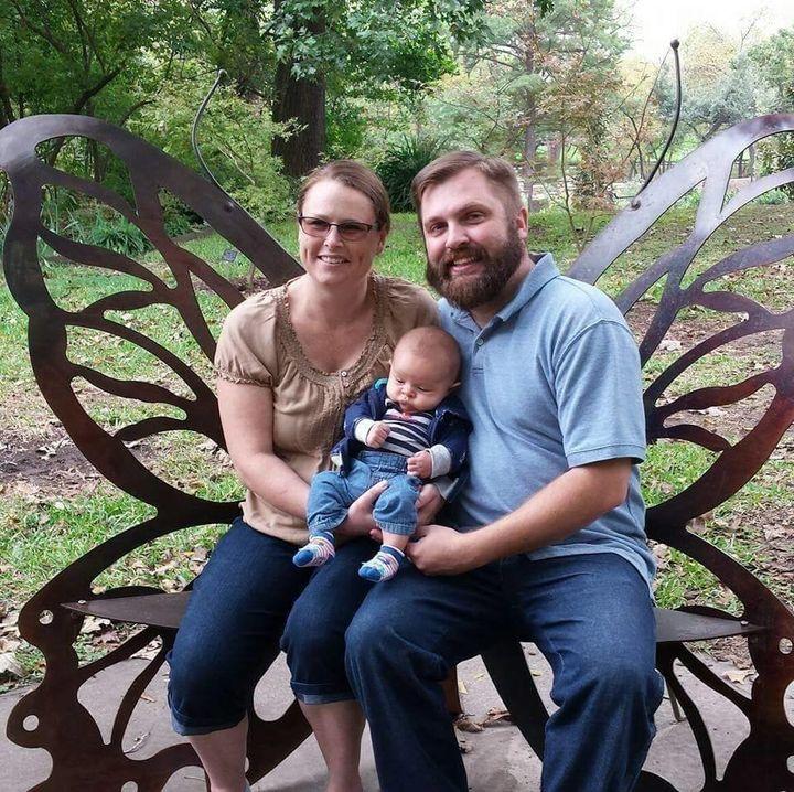 A November photo of Craig and Shanna Vandewege, with their infant son, Diederik.
