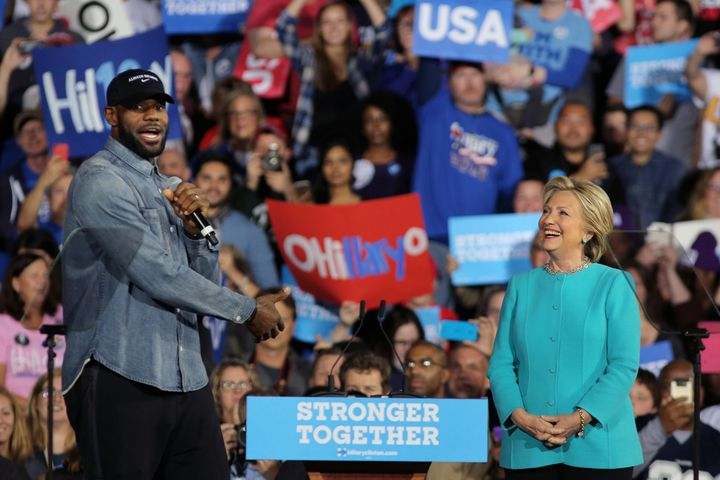 LeBron James appeared with Hillary Clinton during a campaign rally in Cleveland on Nov. 6.