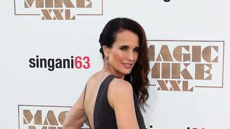 HOLLYWOOD, CA - JUNE 25:  Actress Andie MacDowell attends the premiere of Warner Bros. Pictures' 'Magic Mike XXL' at the TCL Chinese Theatre IMAX on June 25, 2015 in Hollywood, California.  (Photo by David Livingston/Getty Images)