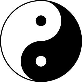 Yin-yang symbol: in the middle of the black is a spot of white
