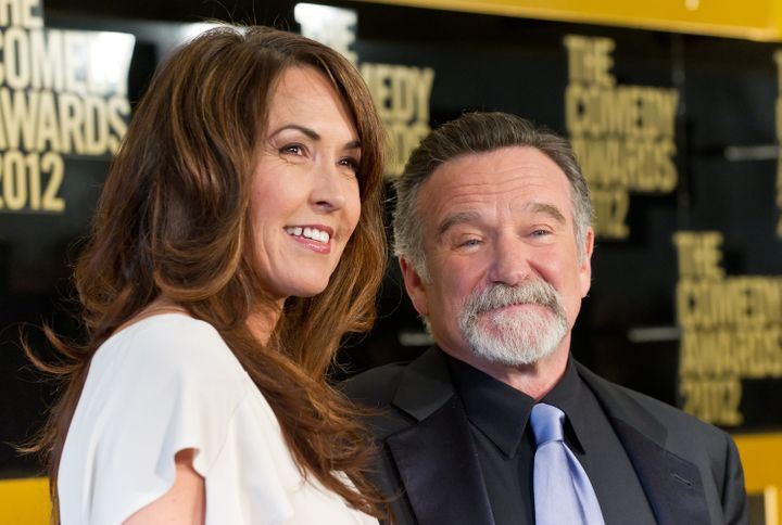 NEW YORK, NY - APRIL 28: Susan Schneider (L) and comedian Robin Williams attend The Comedy Awards 2012 at Hammerstein Ballroo