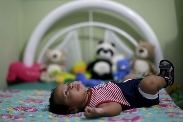 Guilherme Soares Amorim, 2 months, who was born with microcephaly, is pictured in his house in Ipojuca, Brazil, February 1, 2