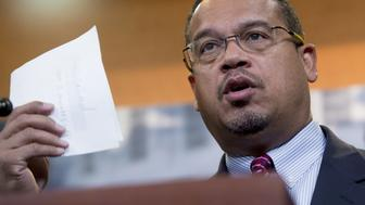 US Representative Keith Ellison, Democrat of Minnesota, attends a press conference with the Congressional Progressive Caucus about the nominations for President-elect Donald Trump's cabinet, on Capitol Hill in Washington, DC, December 8, 2016. / AFP / SAUL LOEB        (Photo credit should read SAUL LOEB/AFP/Getty Images)