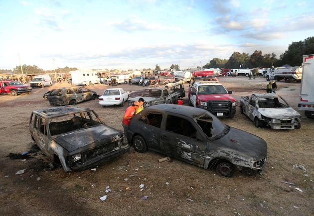 Cars destroyed in the
