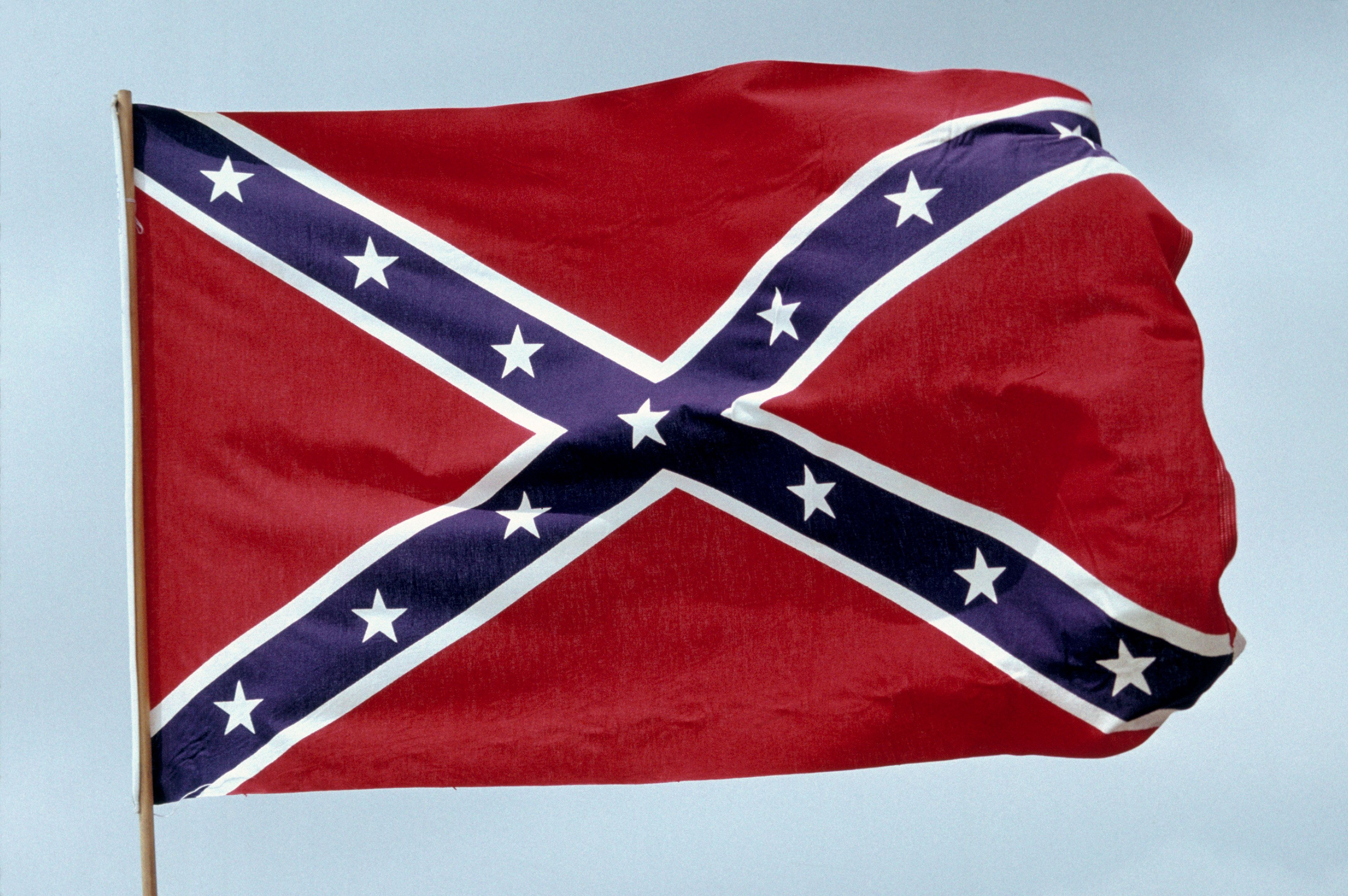 Confederate flag flying on a pole