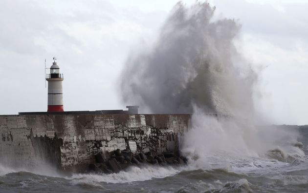Barbara is set to top Storm Angus in November (waves pictured crashing into the wall at Newhaven in East