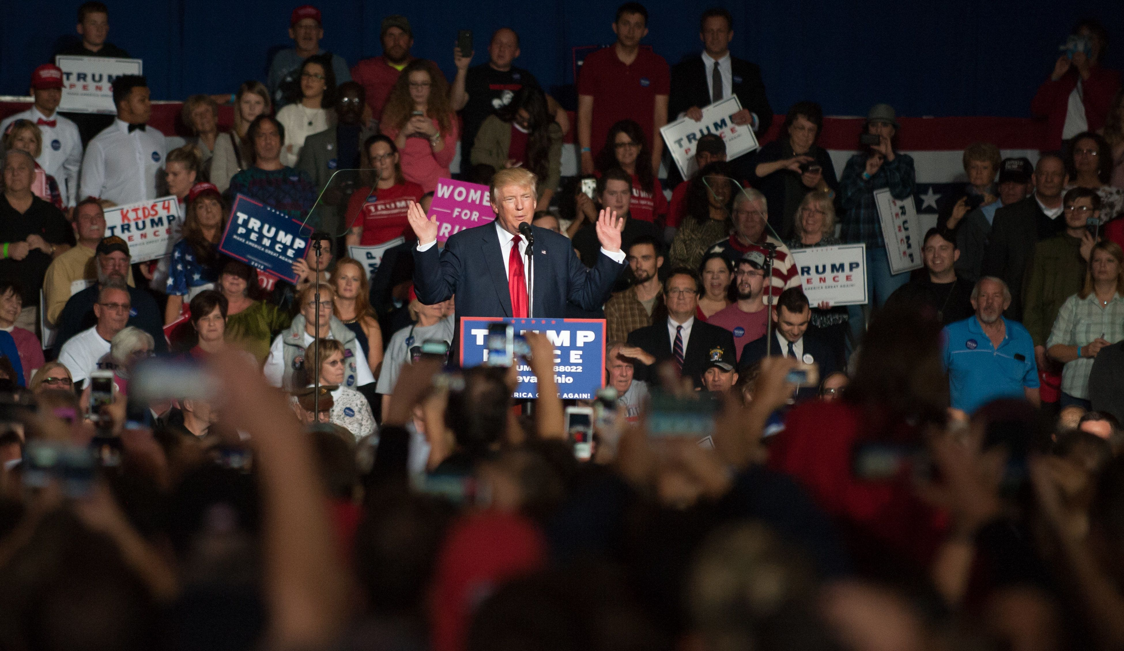 GENEVA, OH - OCTOBER 27: Republican presidential nominee Donald Trump speaks at a campaign rally on October 27, 2016 at the Spire Institute in Geneva, Ohio. Trump spent the day campaigning in Ohio. With less than two weeks to go until election day, Donald Trump continues to campaign in tight battleground states.(Photo by Jeff Swensen/Getty Images)