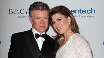 Alan Thicke and wife Tanya Callau attending The Dream Foundation's 11th Annual Celebration of Dreams Gala held at The Bacara Resort and Spa in Santa Barbara, California on November 16, 2012.