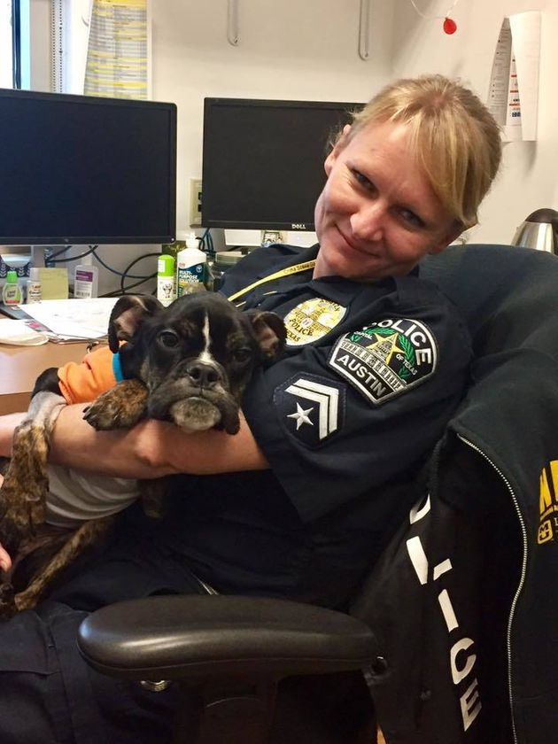 Officer Ewa Wagner cuddles Sophie a few days after she helped rescue