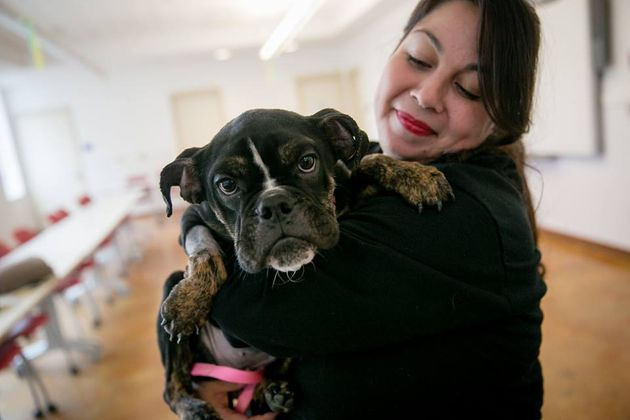 Veterinary Technician Elizabeth Mancera carried Sophie around until she was strong enough to
