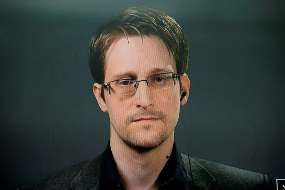 Edward Snowden speaks via video link during a news conference in New York