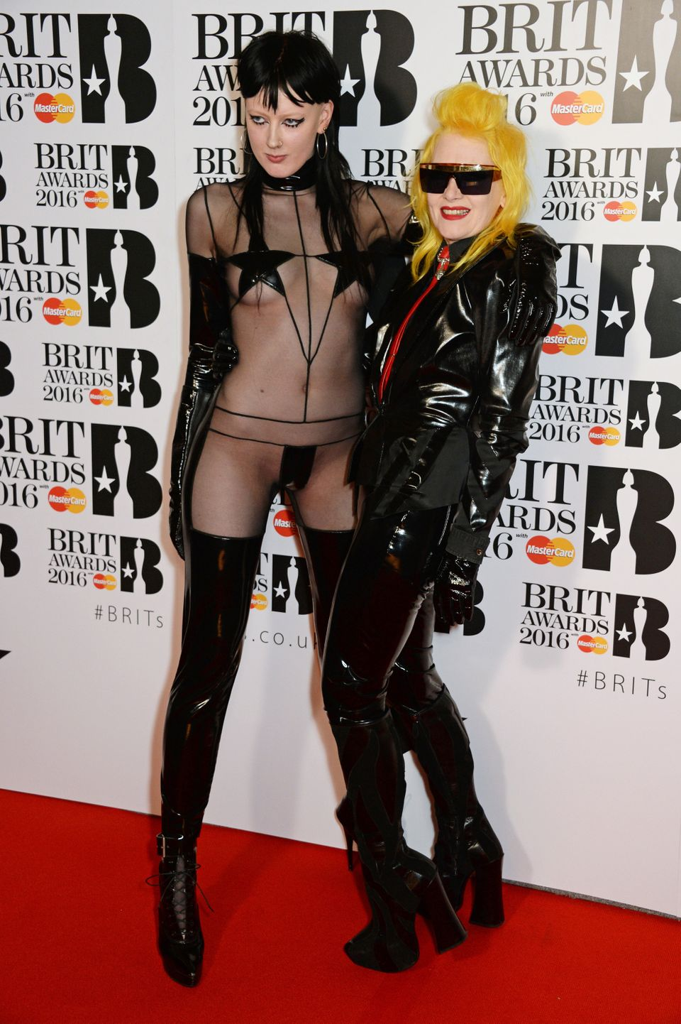 Sadie Pinn (L) and Pam Hogg at the Brit Awards on Feb. 24