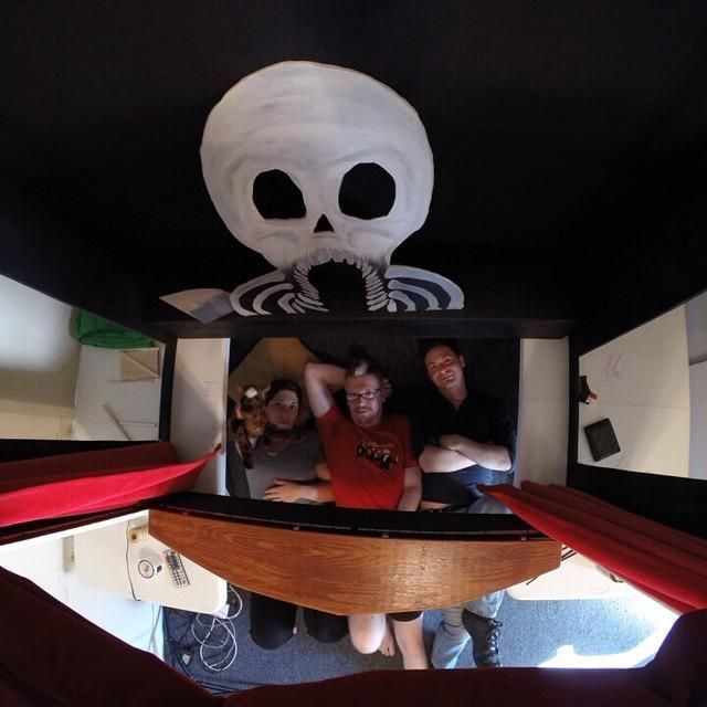 A puppeteer's view.  (left to right) Bekah Eaton, Jonathan Eaton, Jordan Lincoln