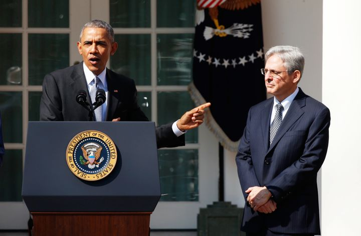 Here's Obama announcing Merrick Garland as his Supreme Court pick in March 2016. He never even got a hearing because McConnel