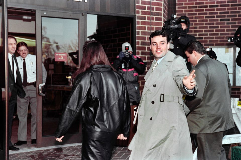 John Wayne Bobbitt arrives at the courthouse in Manassas, Virginia, for the fifth day ofhis wife's