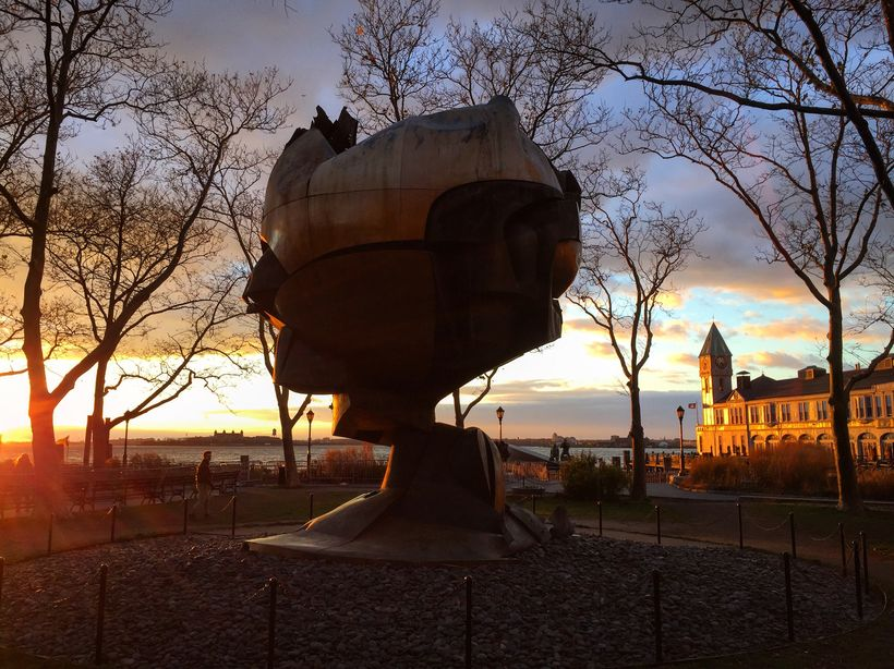 The Sphere by Fritz Koenig sits in Battery Park