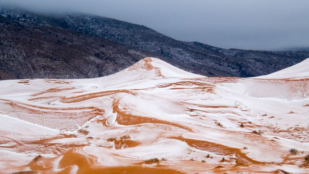 Snow in the Sahara Desert near the town of Ain Sefra, Algeria Snow in the Sahara Desert, Ain