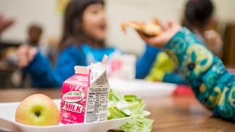 KALAMAZOO, MICHIGAN - November 18: Arcadia Elementary School students eat lunch on November 18, 2016 in Kalamazoo, Michigan. Several families in the Kalamazoo Public Schools participate in the National School Lunch Program, offering free or discounted lunches for low-income students. (Photo by Ann Hermes/The Christian Science Monitor via Getty Images)