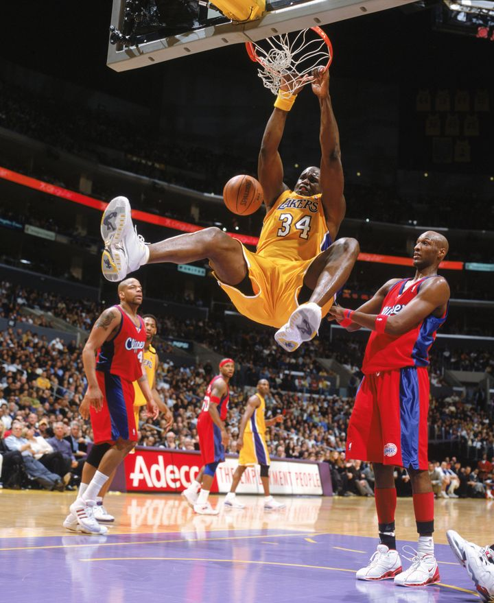 Shaq dunking at the Staples Center in 2004.