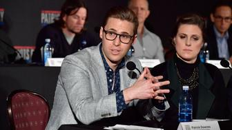 BOSTON, MA - DECEMBER 15:  Boston Marathon bombing survivors Patrick Downes and Jessica Kensky speak at a press conference to discuss the making of the feature film 'Patriots Day' at InterContinental Boston on December 15, 2016 in Boston, Massachusetts.  (Photo by Paul Marotta/Getty Images)