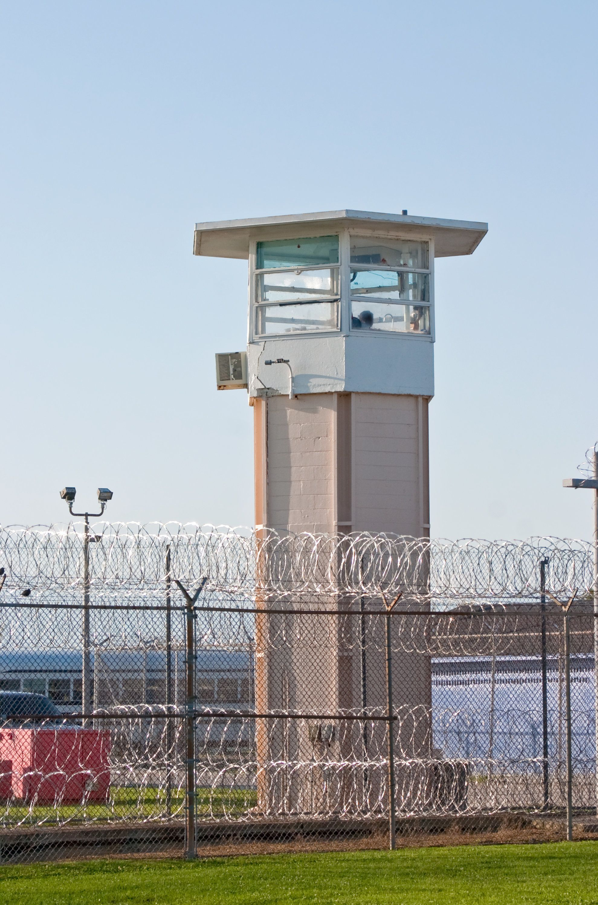 A guard tower as seen from inside the prison yard at Louisiana State Penitentiary at Angola.
