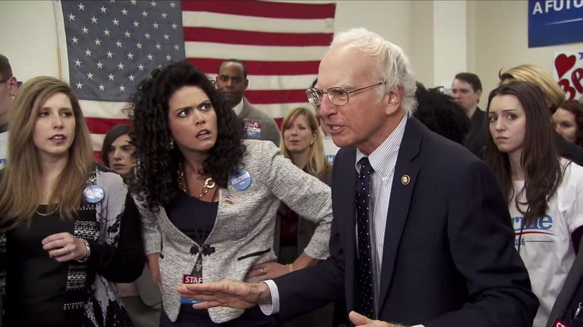 Vanessa Bayer, Cecily Strong, and Larry David on <em>Saturday Night Live</em>.
