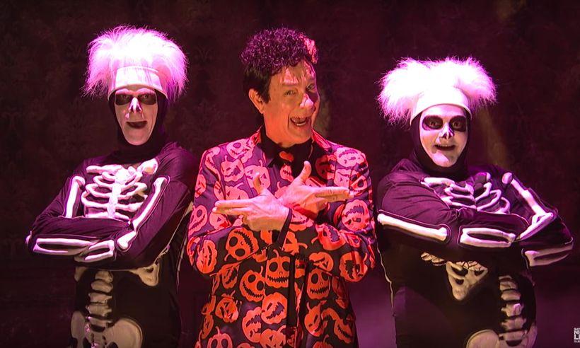 Mikey Day, Tom Hanks, and Bobby Moynihan on <em>Saturday Night Live</em>.