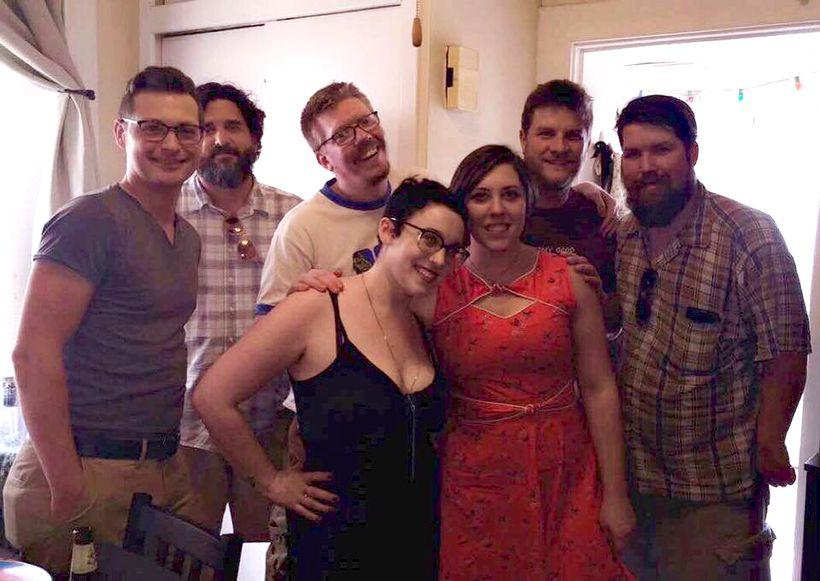 The Popsuckette Theatre Crew. ( Left to right) Jordan Lincoln, John Walker, Jonathan Eaton, Kelly Fuller, Bekah Eaton, Mark V