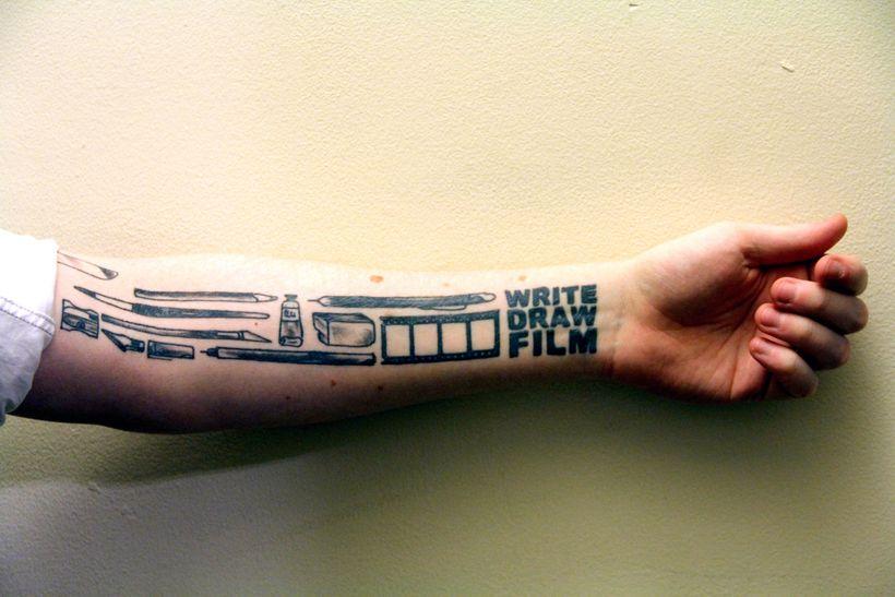 Jonathan Eaton's tattoo and mantra.