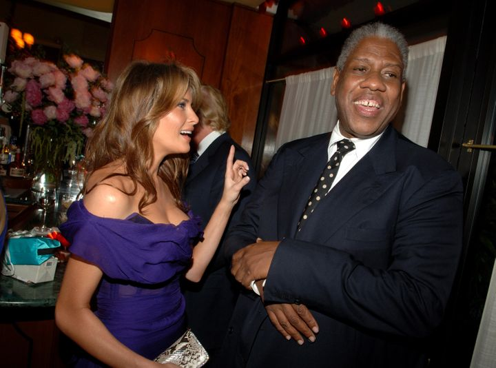 """The """"exquisitely moisturized"""" Melania Trump and André Leon Talley go way back. Here they are in 2005."""