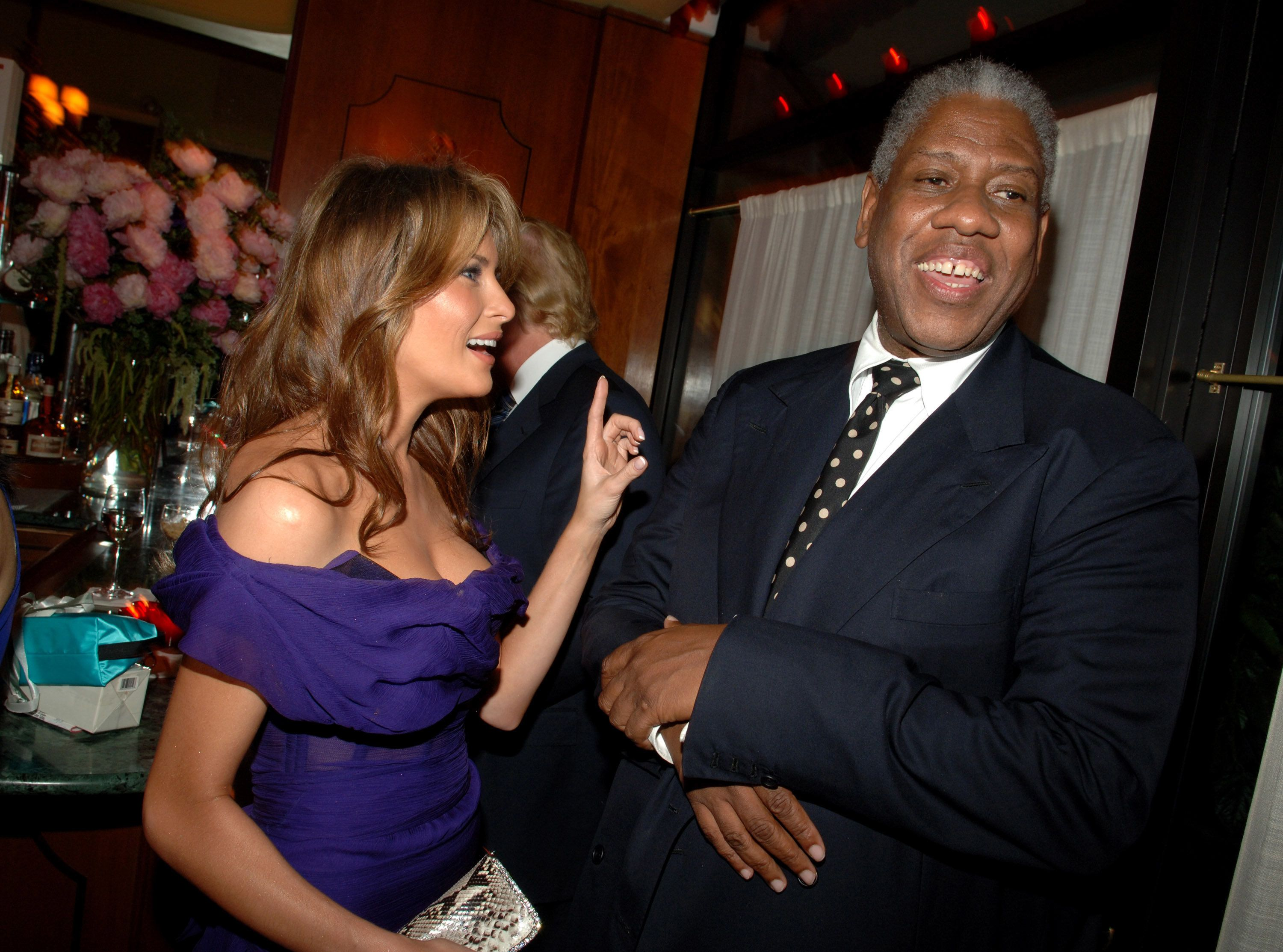 Melania Trump and Andre Leon Talley during MAC Cosmetics Hosts Launch Party for Andre Leon Talley's New Book, 'A.L.T. 365' at La Grenouille in New York City, New York, United States. (Photo by Stephen Lovekin/WireImage)