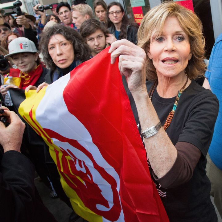 Jane Fonda and Lily Tomlin attend the #BankExit Rally on Dec. 21, 2016 in Los Angeles, California.