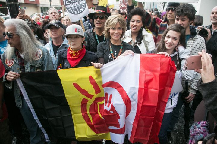 Jane Fonda, Grey Wolf, Lily Tomlin, Frances Fisher and Catherine Keener at the rally against Wells Fargo and Chase Bank in so