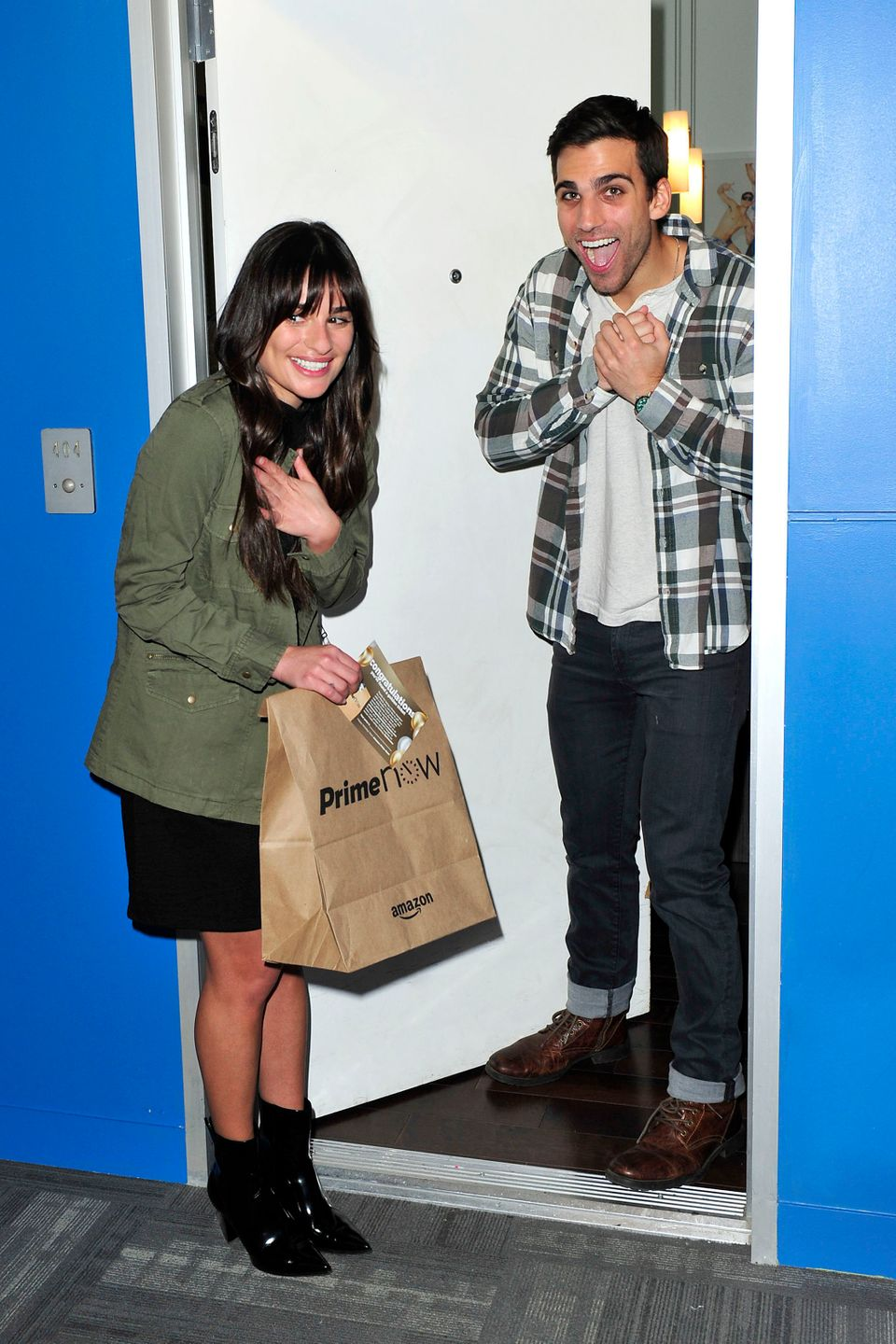 Lea Michele surprises an Amazon Prime Now customer in LA with a Golden Ticket prize.
