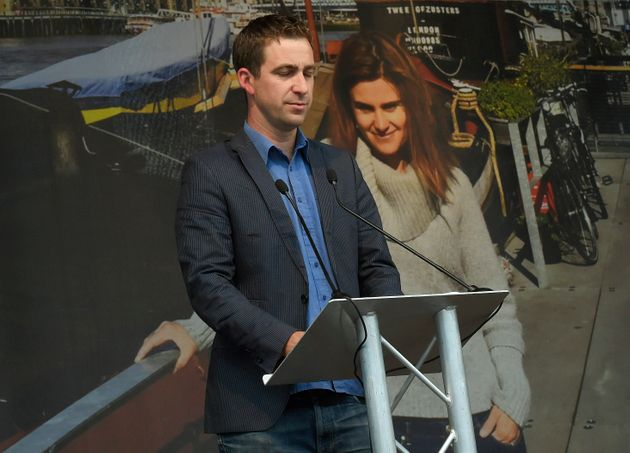 Brendan Cox delivering a speech at a special service for his wife Jo at Trafalgar Square in