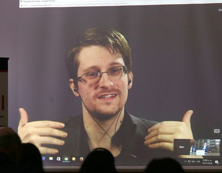 Edward Snowden speaks via video link during a conference at the University of Buenos Aires Law School, Argentina, in mid-Nove